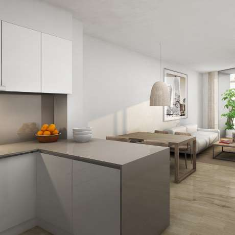 Wohnanlagen von neuen geräumigen Apartments in Zona Alta in Barcelona